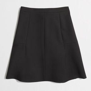 J.Crew Black A-Line Fluted Double Crepe Mini Skirt